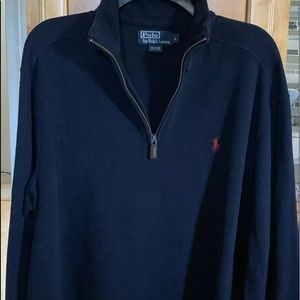 POLO RALPH LAUREN NAVY BLUE 1/4 ZIP SZ LARGE